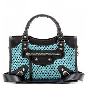 Balenciaga Blue/Black Weaving Classic Mini City Bag