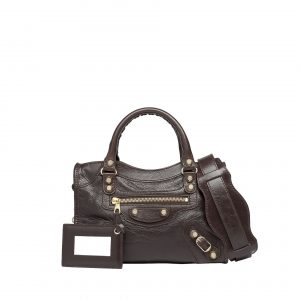 Balenciaga Cigare Fonce Giant 12 Gold Mini City Bag