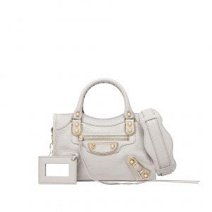 Balenciaga Light Grey Classic Metallic Edge Mini City Bag