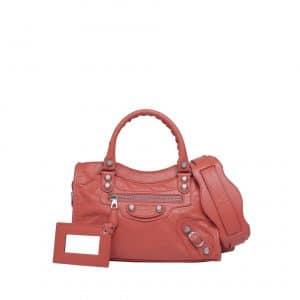 Balenciaga Rose Corail Giant 12 Silver Mini City Bag