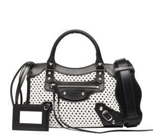 Balenciaga White/Black Weaving Classic Mini City Bag