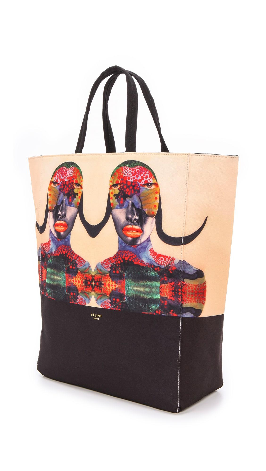 Limited Edition Celine \u0026#39;Born Free\u0026#39; Cabas Canvas Tote Bag for ...