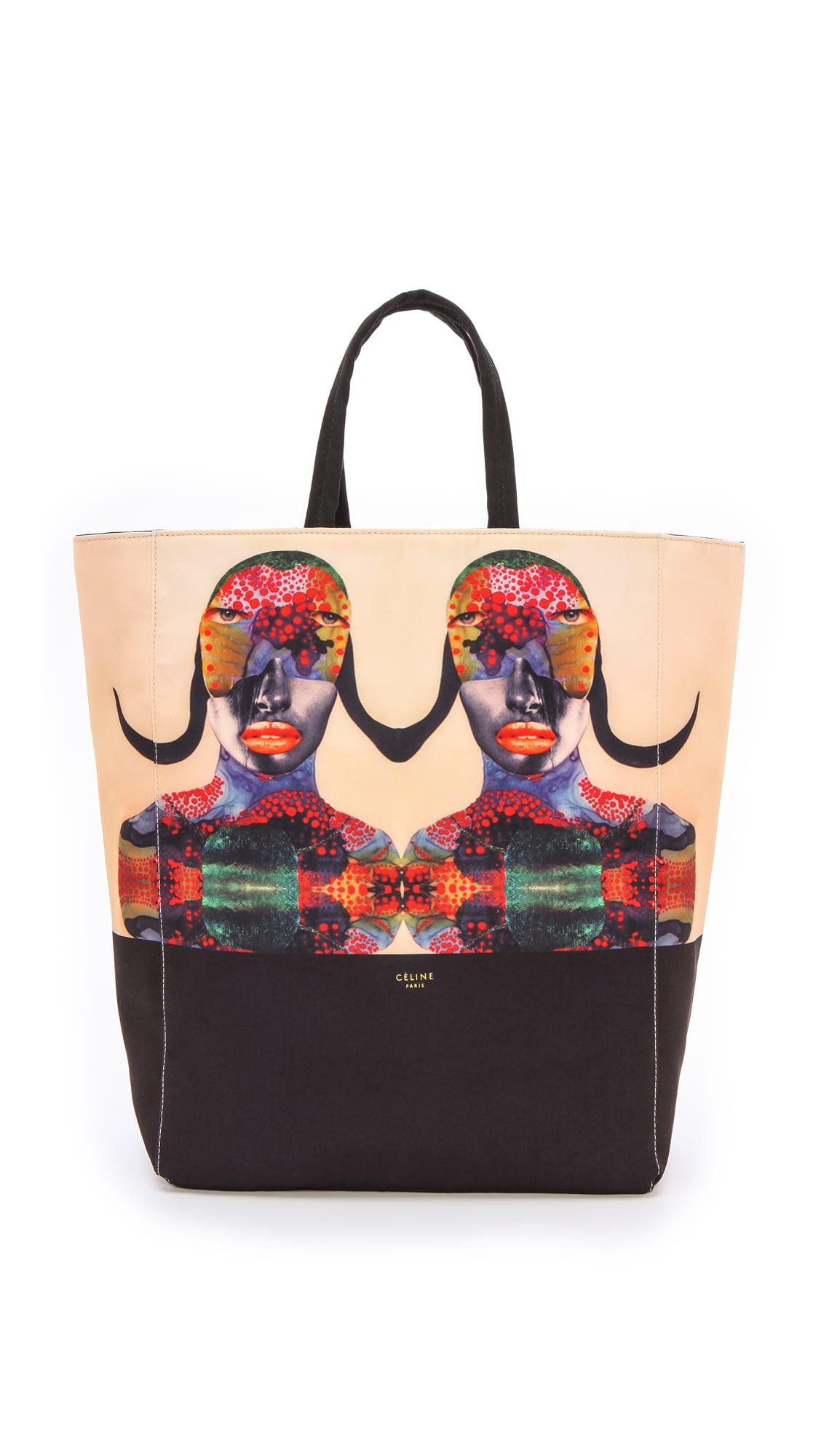 Limited Edition Celine \u0026#39;Born Free\u0026#39; Cabas Canvas Tote Bag for ...