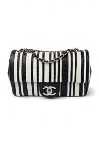 Chanel Black and White Striped Python Flap Bag - Fall 2014