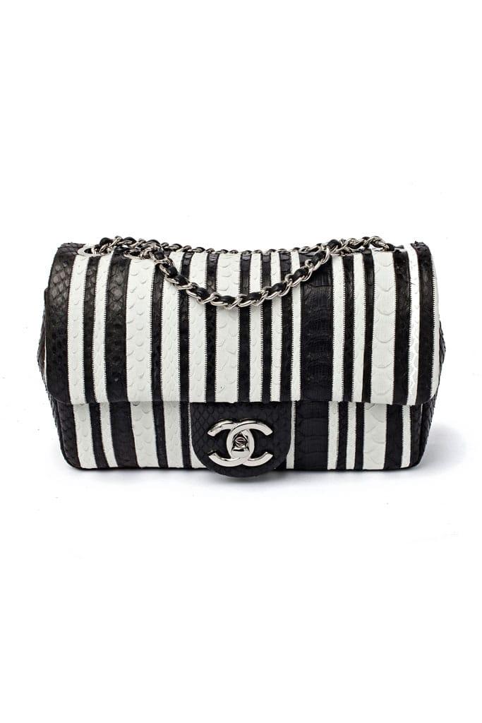 Chanel Black and White Striped Python Flap Bag - Fall 2014 34071be8e8da1