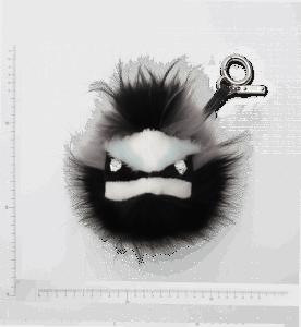 Fendi Black/Grey Fur Buggies with Crystal Eyes