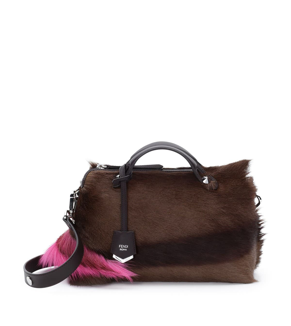 c4fefd565f7e Fendi Brown Pink Fur By The Way Medium Bag