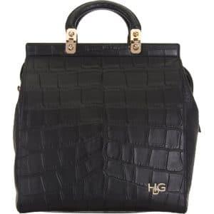 Givenchy Black Croc Embossed HDG Tote Bag