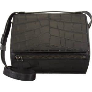 Givenchy Black Croc Embossed Pandora Box Bag