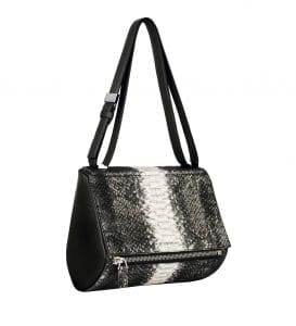 Givenchy Black and White Shearling Python Pandora Box Medium Bag