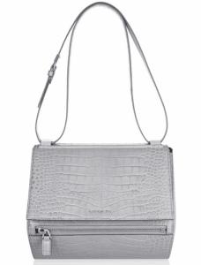 Givenchy Gray Croc Embossed Pandora Box Medium Bag