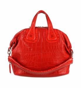 Givenchy Red Croc Embossed Nightingale Medium Bag