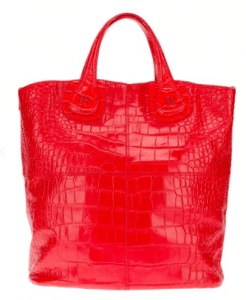 Givenchy Red Croc Embossed Nightingale Shopper Bag