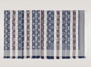 Louis Vuitton Bleu Jean Monogram Mattress Stripes Shawl