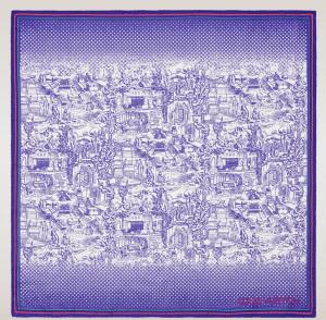 Louis Vuitton Purple Toile De Jouy Square
