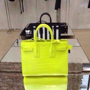 Saint Laurent Neon Yellow Croc Mini Sac du Jour Bag - Spring 2014