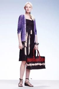 Bottega Veneta Black/White:Red Intreciatto Tote Bag