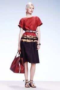 Bottega Veneta Red Striped Tote Bag - Resort 2015
