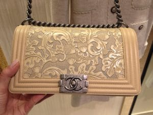 Chanel Beige with Embossed Detail Boy Bag - Prefall 2014
