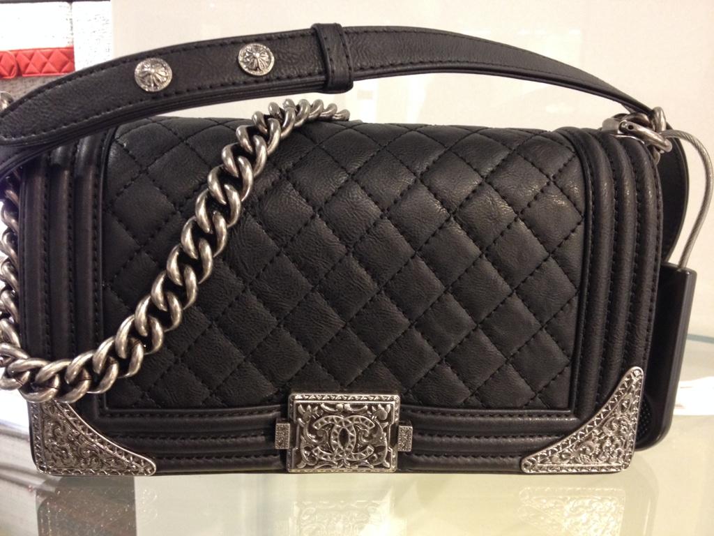 Chanel Black Boy With Silver Embellished Bag Prefall 2017