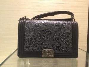 Chanel Black with Embossed Detail Boy Bag - Prefall 2014 - 2