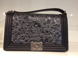 Chanel Black with Embossed Detail Boy Bag - Prefall 2014