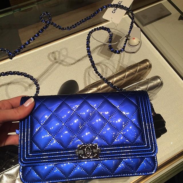 Chanel le Boy Woc Chanel Blue Patent Boy Woc Bag