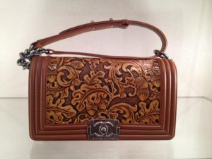 Chanel Brown with Embossed Detail Small Boy Bag - Prefall 2014