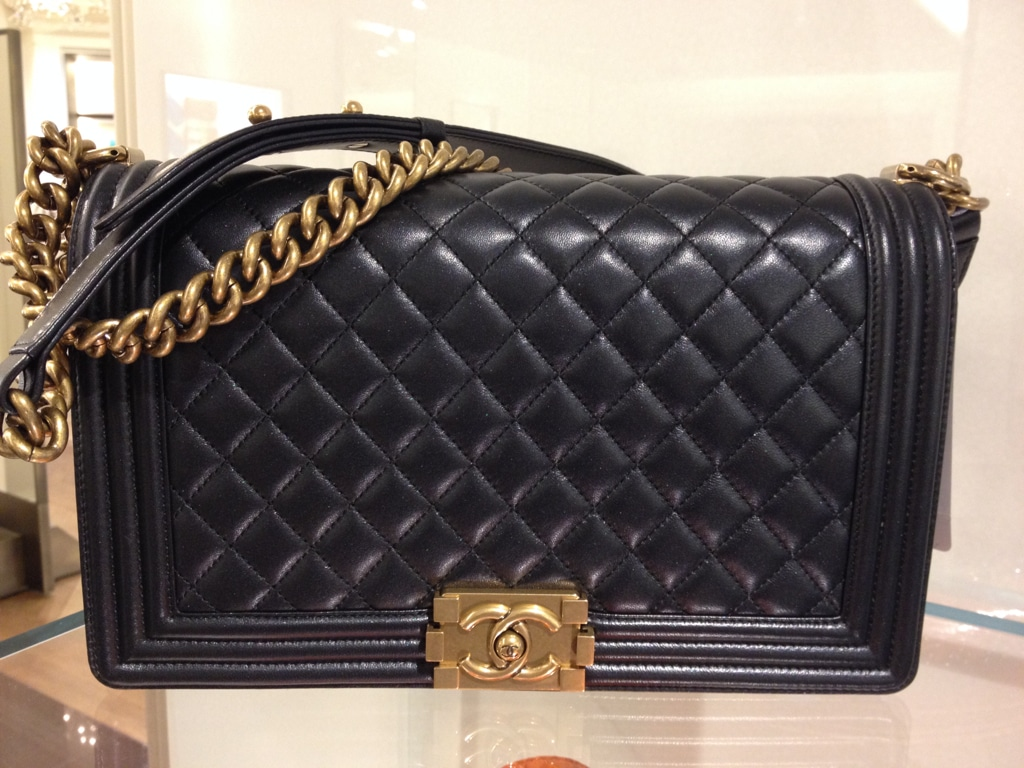 b633a46b0e8974 Chanel Medium Boy Bag with Gold Hardware - Prefall 2014