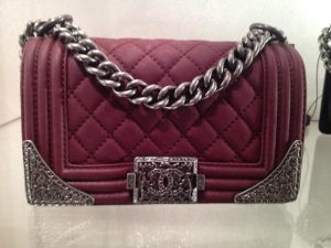 Chanel Oxblood Red Boy with Silver Embellished Bag - Prefall 2014