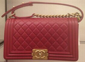 Chanel Red Large Boy Bag with Gold Hardware - Prefall 2014