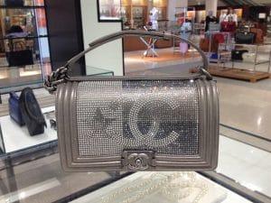 Chanel Silver Crytallized CC Boy Bag - Prefall 2014