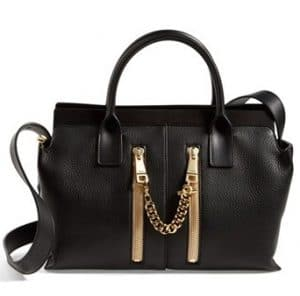 Chloe Black Small Cate Tote Bag with Zippers - Spring 2014