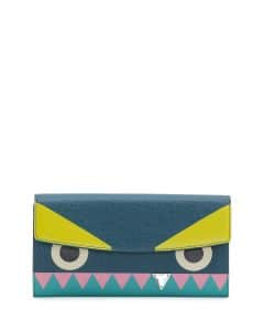 Fendi Aqua Crystal Tooth Monster Continental Wallet