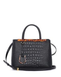 Fendi Black Croc Stitched 2Jours Mini Bag
