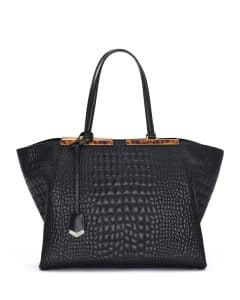 Fendi Black Croc Stitched 3Jours Tote Bag