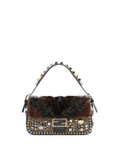 Fendi Black Embellished Fur Baguette Bag