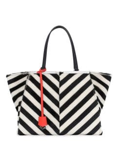 Fendi Black/White Chevron Shearling 3Jours Tote Bag
