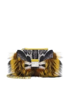 Fendi Black/White/Yellow Fur and Leopard Print Calf Hair Be Baguette Bag