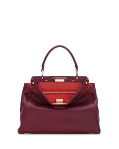 Fendi Bordeaux/Poppy Peekaboo Medium Bag