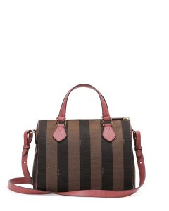Fendi Brown/Pink Pequin Boston Small Bag