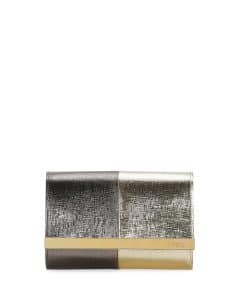 Fendi Gold/Bronze Rush Mini Metallic Clutch Bag