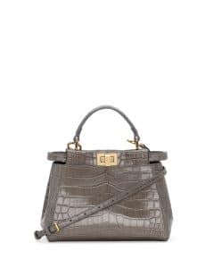 Fendi Gray Alligator Peekaboo Mini Bag
