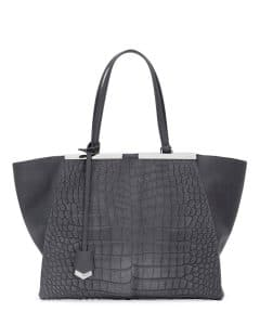 Fendi Gray Calf Hair Croc Pattern 3Jours Tote Bag