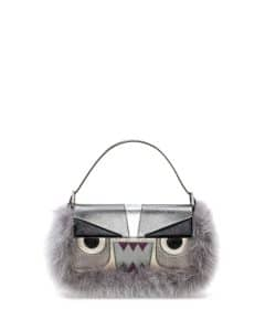 Fendi Gray Metallic Fur Monster Baguette Bag