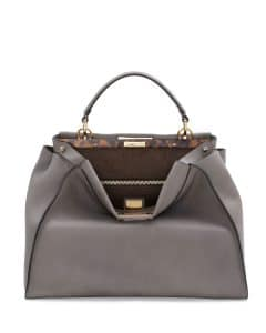 Fendi Light Gray Peekaboo Large Bag