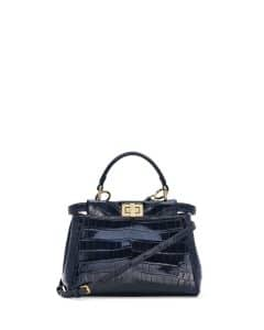 Fendi Navy Alligator Peekaboo Mini Bag