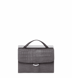 Fendi Pearl Grey Calf Hair Printed Croc Demi Jour Bag