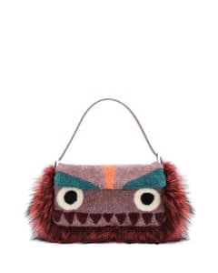 Fendi Purple Multicolor Shearling Fur Monster Baguette Bag