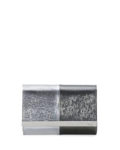 Fendi Silver/Black Rush Mini Metallic Clutch Bag